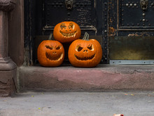 Halloween Decoration On The Door Of The House