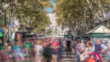 La Rambla Street In Barcelona Timelapse, Spain.