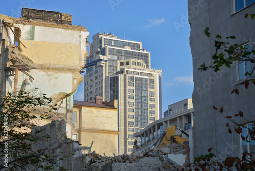 Staande foto Kiev Kyiv. Ukraine. Destroying old city for high-rise buildings in its core.