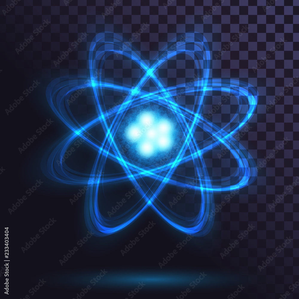 Fototapeta Blue glowing atom on transparent background. Science, physics. Nuclear power