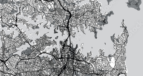 Obraz na plátně Urban vector city map of Sydney, Australia