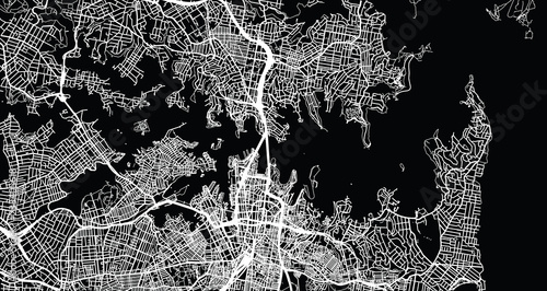 Fototapeta Urban vector city map of Sydney, Australia