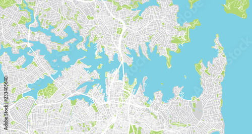 Fotografie, Obraz Urban vector city map of Sydney, Australia