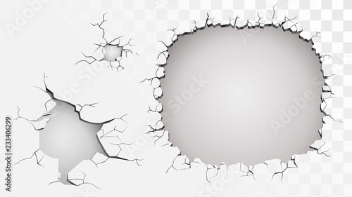 Fotografía  Set of ruined wall on a transparent background, holes and cracks in a wall