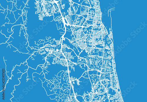 Urban vector city map of Gold Coast, Australia Canvas-taulu