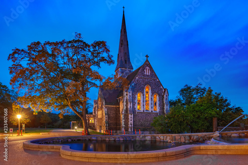 Foto op Aluminium Europese Plekken Saint Alban or English Church at night, Copenhagen, capital of Denmark