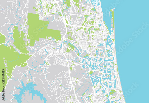 Valokuva Urban vector city map of Gold Coast, Australia