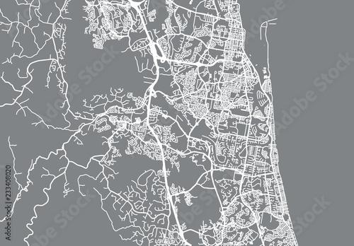 Fotografija  Urban vector city map of Gold Coast, Australia
