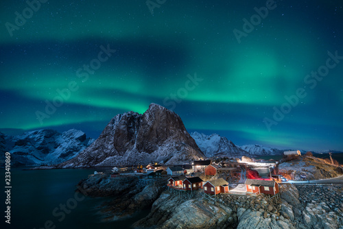 Foto auf AluDibond Blau türkis Fisherman village with Aurora in the background travel concept world explore northern light / Lofoten Norway
