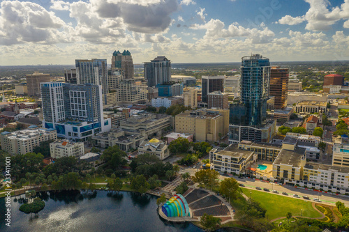 Aerial photo Downtown Orlando Florida USA Lake Eola Heights business district Fototapet