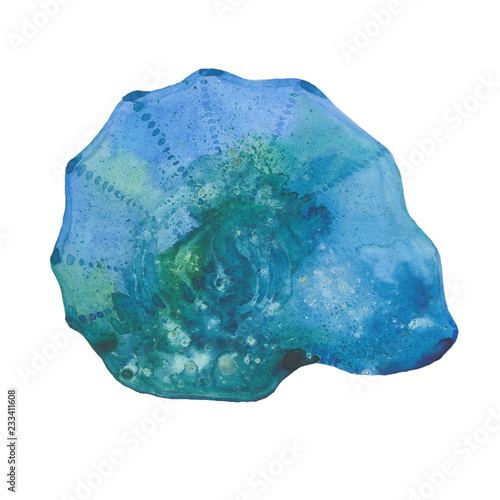 watercolor blue shell