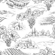 Seamless Pattern With Grapes And Rural Scene