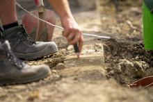Bau Arbeiter Bagger Erde Schau...