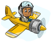 Cartoon Pilot Boy Character In Retro Airplane