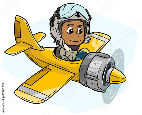 Fototapeta Cartoon pilot boy character in retro airplane
