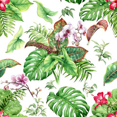 Panel Szklany Liście Watercolor Tropical Plants Seamless Pattern