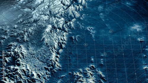 Vista satellitare di un terreno, sci-fi, visione notturna. Obiettivo militare, sorvolo di un drone. Target militare. Operazione sotto copertura. Rilievi montuosi e pianure. Nuovo pianeta