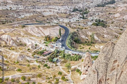 Poster Donkergrijs landscape of highway in cappadocia