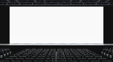 Cinema Hall With Auditorium Watching Movie On Blank Screen Mockup