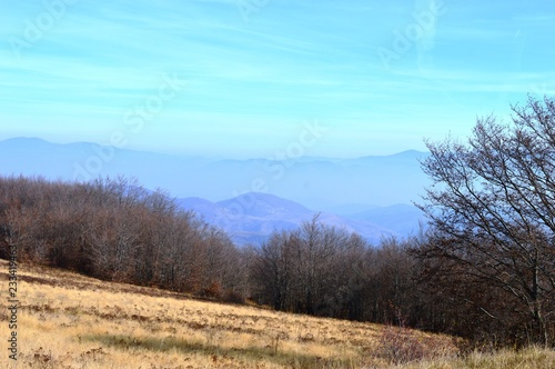 Foto op Canvas Lichtblauw landscape of the hills and mountains in autumn