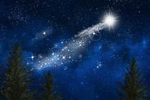 Paisaje De Un Cielo Con La Estrella De Navidad