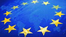 EU Flag And World Data Map