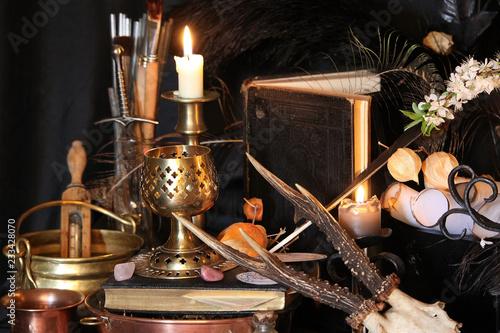 Black candle Magic Ritual  Antique Magic Book  Witchcraft Peacock