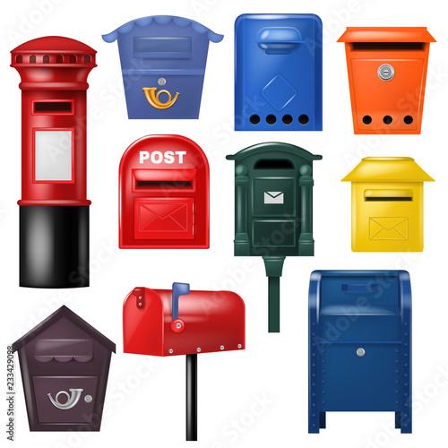 Fotografía Mail box vector post mailbox postal mailing letterbox illustration set of postbo