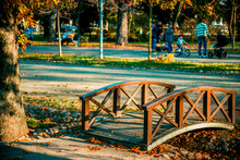 Wood Bridge Over A Groove In The Warm Dawn Light Color In A Public Park With Families In Background