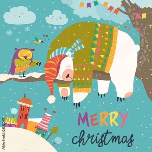 Vector Christmas card with sleeping polar bear and little owl Fototapeta