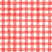 Red Checked Watercolor Pattern. Fabric Background.