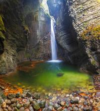 The Kozjak Waterfall Is One Of The Greatest Remarkableness In Kobarid Region, Slovenia.