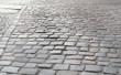 Grey Old Stone Pavement Top View or Granite Cobblestone Road