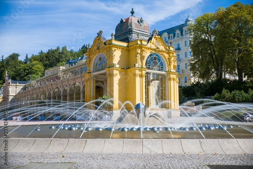 Main colonnade and Singing fountain in Marianske Lazne (Marienbad) - great famou Canvas Print
