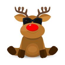 Cute Little Deer With Glasses. Reindeer In Black Glasses
