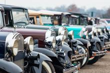 Row Of Vintage Cars On A Car Show