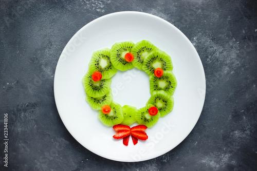 Christmas wreath fruit snack for kids, creative food art idea
