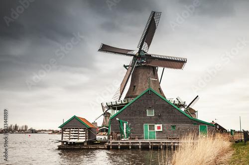 Foto op Aluminium Europese Plekken Old wooden windmill in Netherlands
