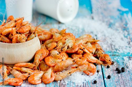 Boiled shrimp with sea salt, healthy snack