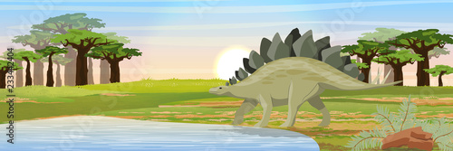 Stickers pour porte Kaki Stegosaurus near the lake. Prehistoric animals and plants. Vector landscape of the Mesozoic or Jurassic period.