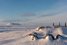 Dormant Icelandic Volcano In Desolate Snowy Landscape