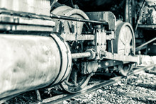 Steam Locomotive Train Car Antique Vintage Grunge Wheel Closeup With Streaks Of Paint In Black And White