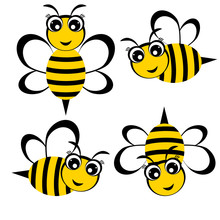 Bees. Set Of Funny Little Bees Cute Cartoon Characters Vector Illustration.