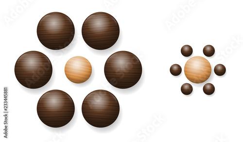 Naklejka premium Iluzja Ebbinghaus z drewnianymi kulkami. Złudzenie optyczne postrzegania względnej wielkości. Dwie kulki w środku są dokładnie tego samego rozmiaru. Jednak ten po prawej stronie wydaje się większy.