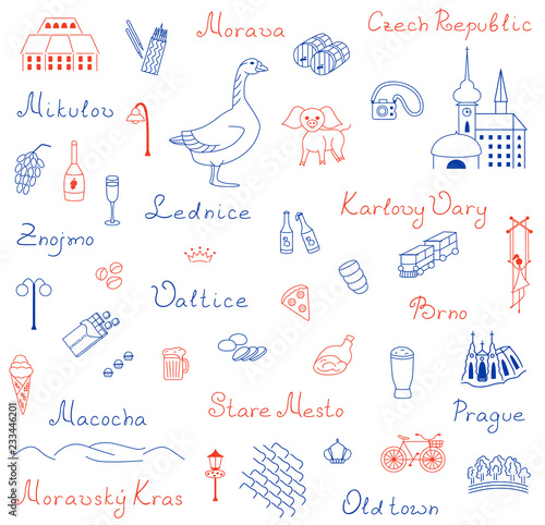 Photo  Icons set of Europe Czech Republic vector illustration sketch logo silhouette