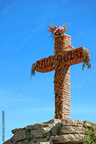 Spoed Foto op Canvas Zuid-Amerika land The Cross at the Andean Condor Watching Point in Colca Canyon, Arequipa Region of Peru