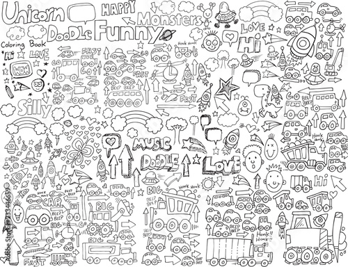 Tuinposter Cartoon draw Doodle Sketch Vector Illustration Art Set