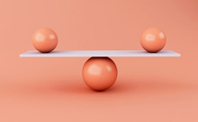 3d Spheres Balancing On A Sees...