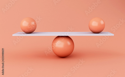 3d spheres balancing on a seesaw. Canvas Print