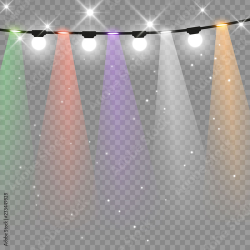 Spoed Foto op Canvas Licht, schaduw Christmas lights isolated on transparent background. Xmas glowing garland. Sparks glitter special light effect. Vector illustration.